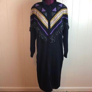 Vintage 80s/90s Long Black Wool Cardigan Sweater